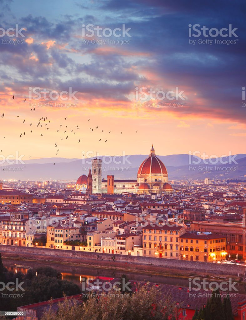 Florence in Italy by sunset stock photo