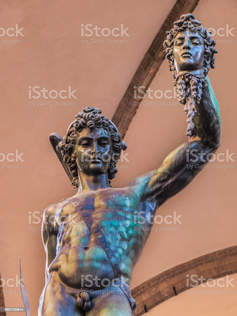 Florence, Italy - 08/08/2012 - Florence, Italy - Piazza Signoria - Celinis Perseus with Head of Medusa Sculpture stock photo