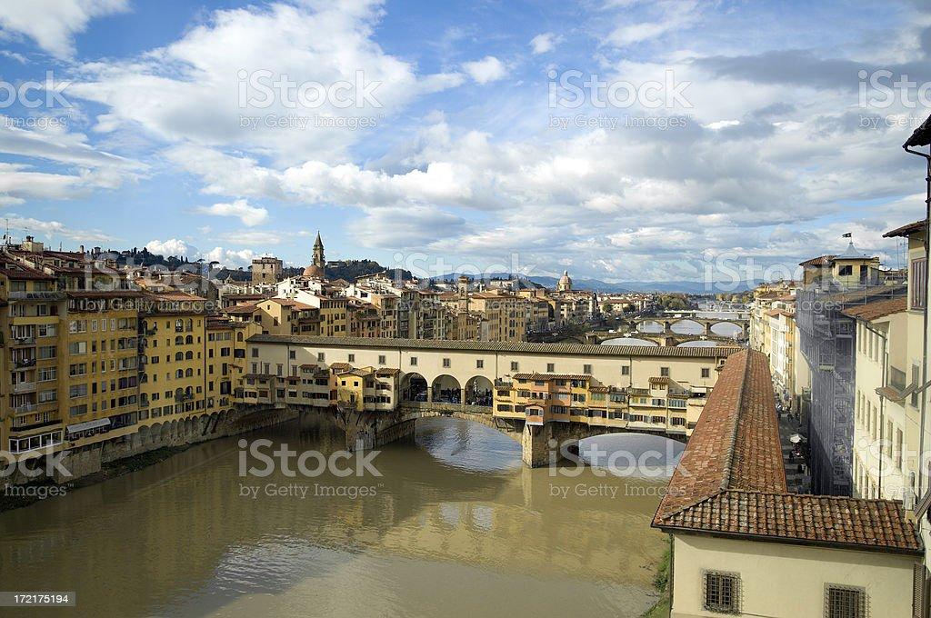 Florence Italy Bridge Sky Line royalty-free stock photo