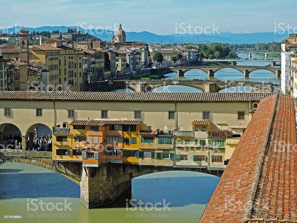 Florence Italy Bridges Over River Arno stock photo