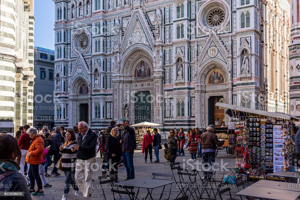 Florence, Italy. Facade of Santa Maria del Fiore, with tourists stock photo
