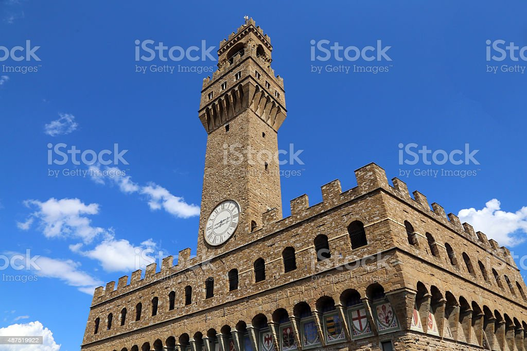 Florence Italy Historic clock tower building in the main square stock photo