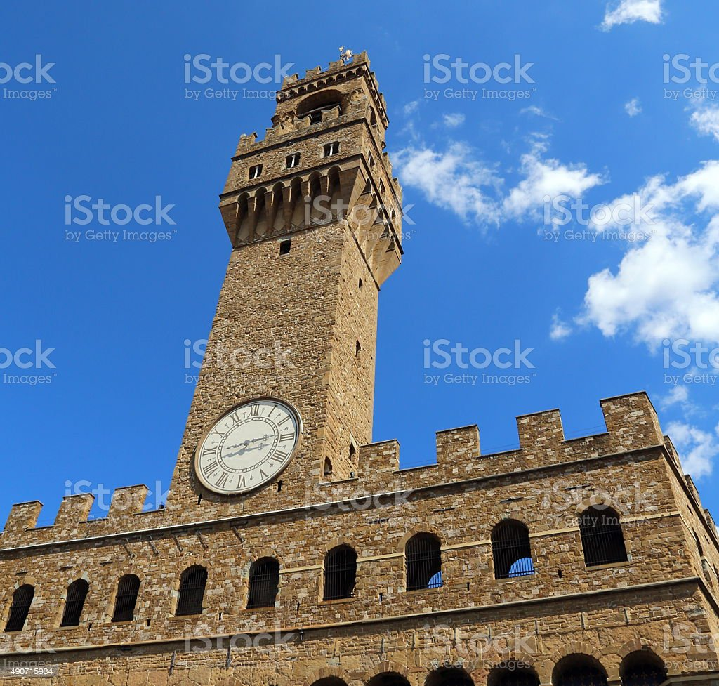 Florence Italy Historic clock tower building stock photo