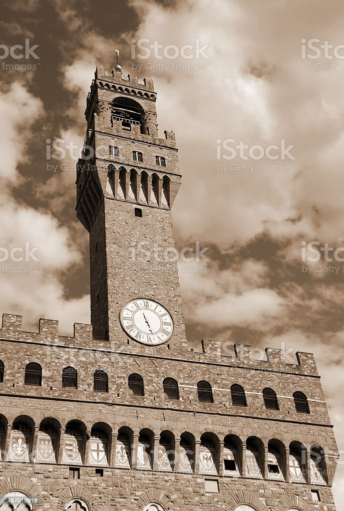 Florence Italy Historic clock tower stock photo