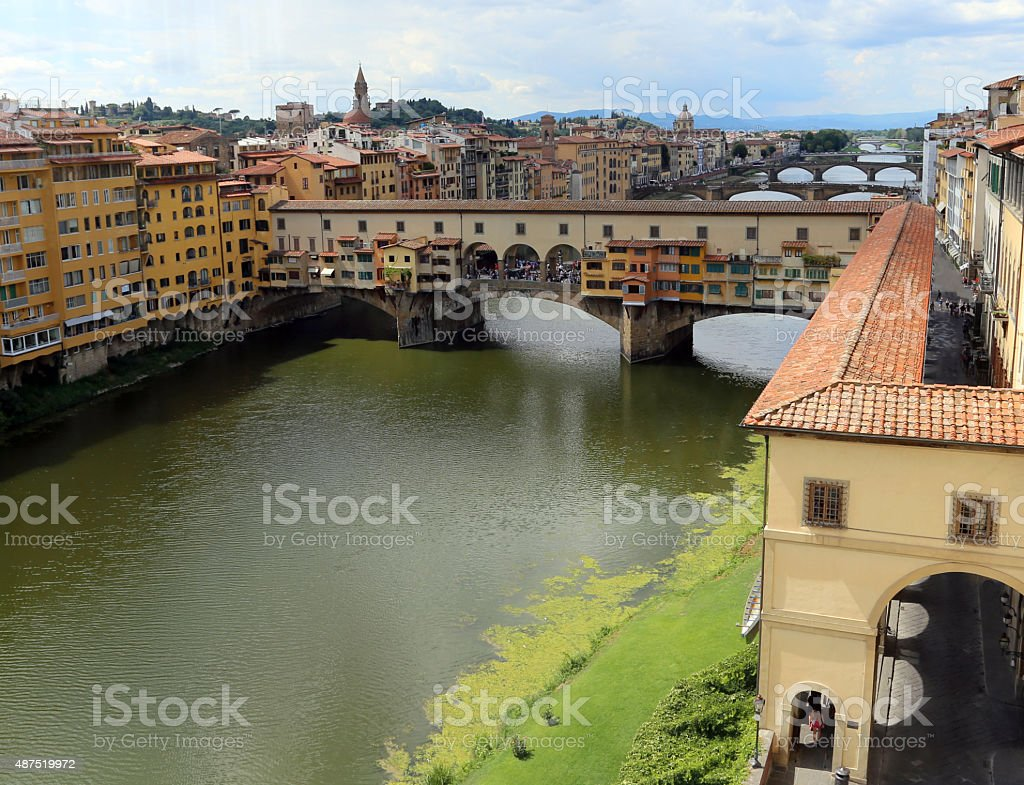 Florence Italy houses and shops in the ancient bridge stock photo