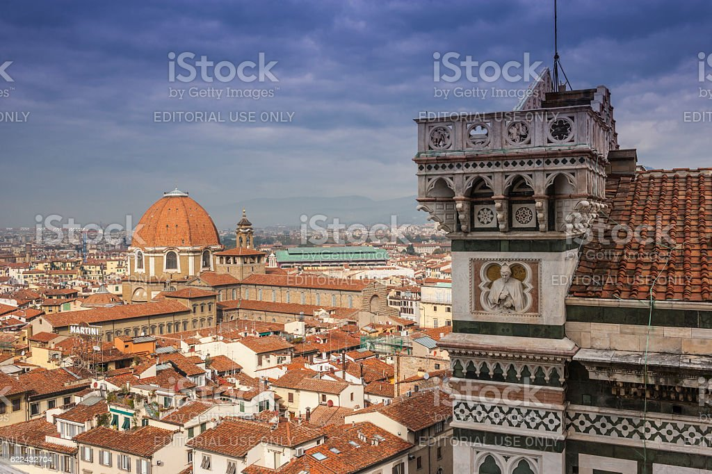 Florence, Italy. Overlook on Florence from the Giotto's belfry stock photo