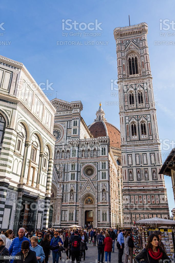 Florence, Italy. Piazza del Duomo with tourists walking stock photo