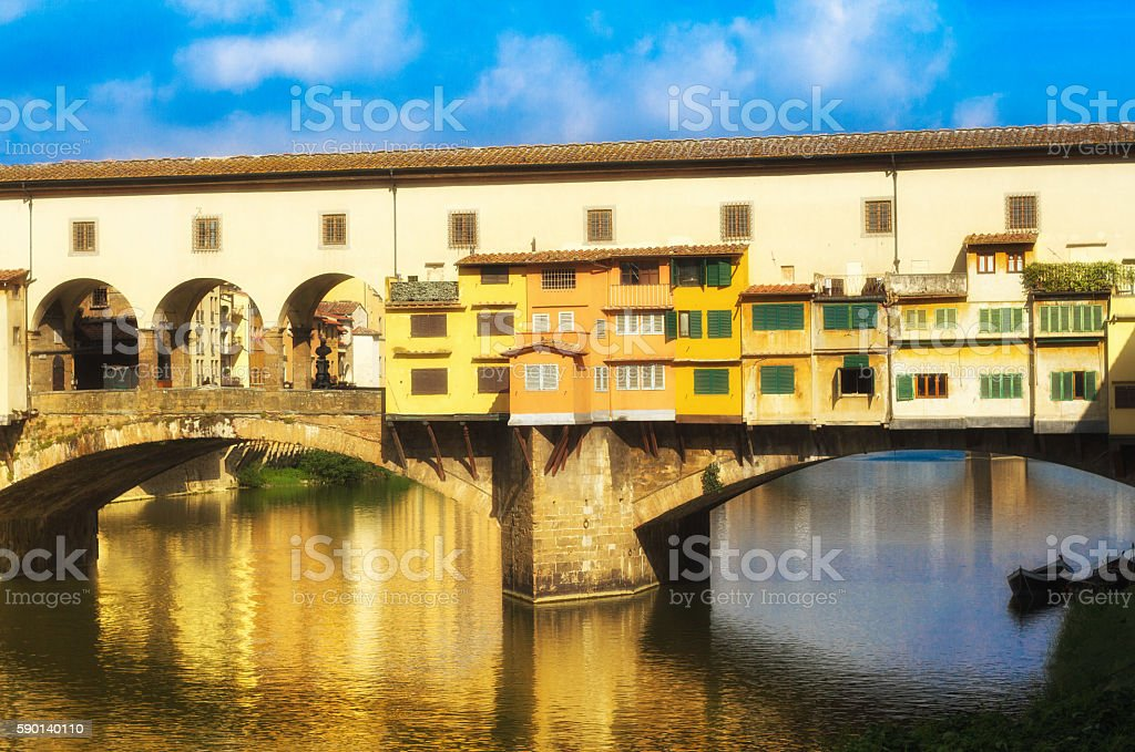 Florence, Italy: Ponte Vecchio Reflection in Arno River, Boat stock photo