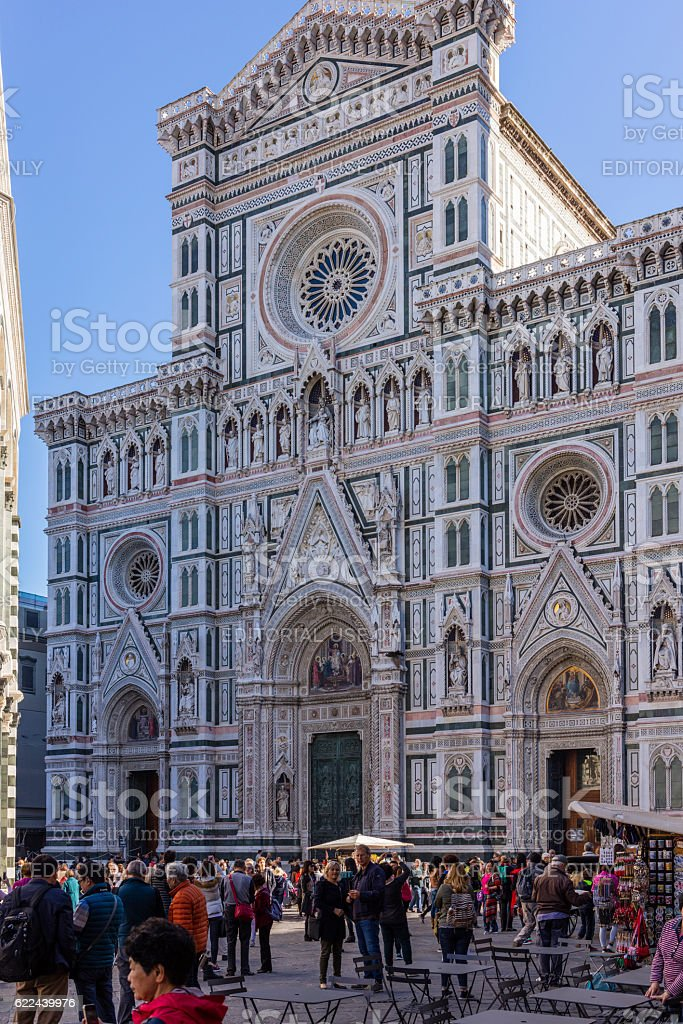 Florence, Italy. Santa Maria del Fiore, with tourists walking stock photo