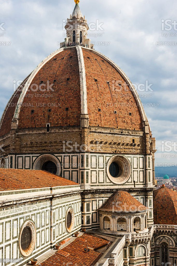 Florence, Italy. The Brunelleschi's dome from the Giotto's belfry stock photo