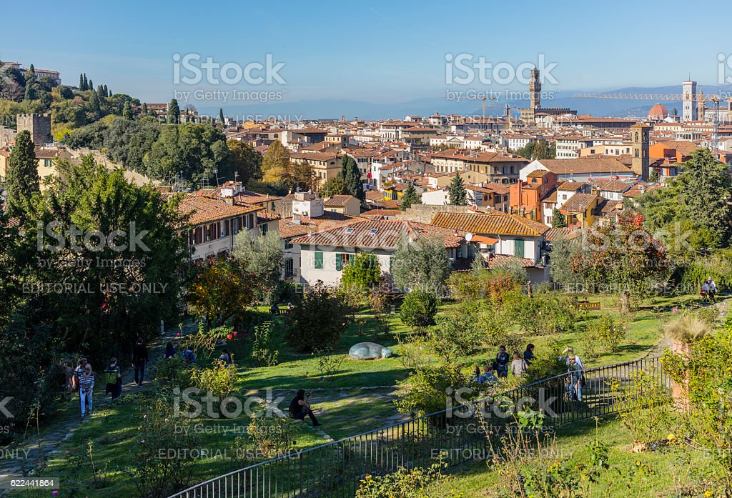 Florence, Italy. Tourists in the Rose Garden stock photo