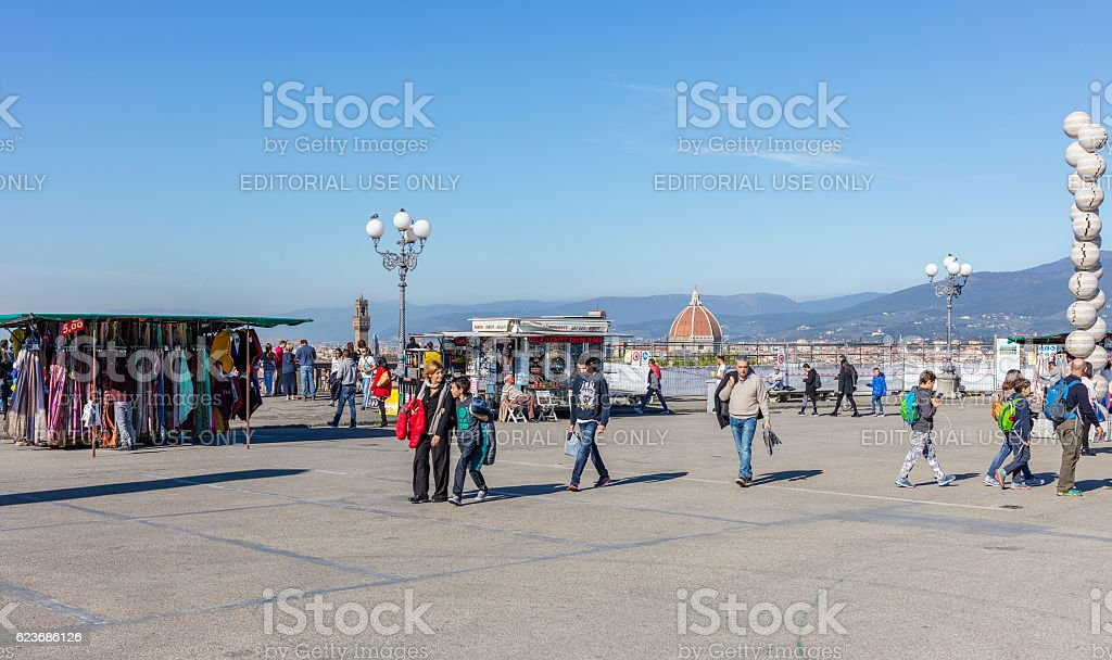 Florence, Italy. Tourists walking in Piazzale Michelangelo stock photo