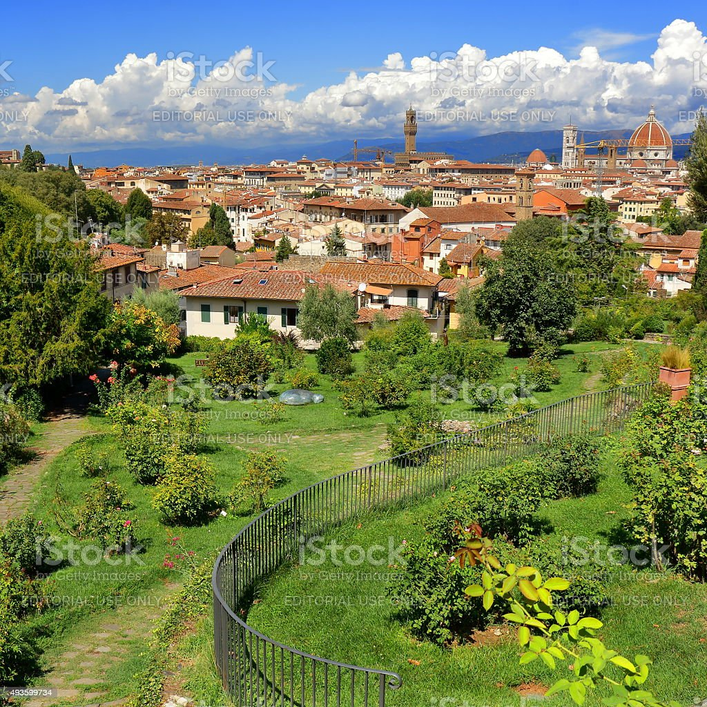 Florence, Italy. View from Giardino delle Rose (Rose Garden) stock photo