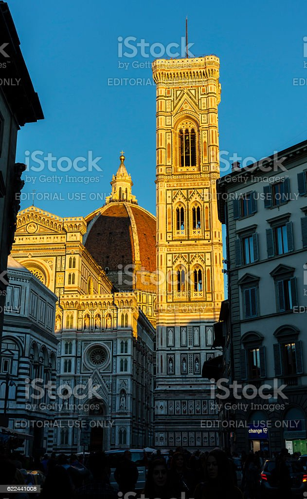 Florence, Italy.Cathedral and Giotto's belfry, at sunset stock photo
