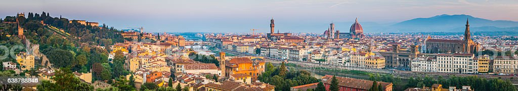 Florence landmark sunrise panorama Duomo villas spires cityscape Tuscany Italy stock photo