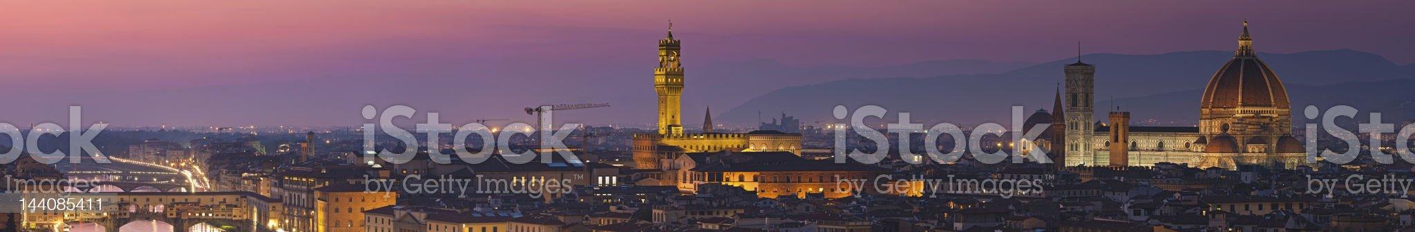 Florence landmarks illuminated dusk panorama Tuscany Italy royalty-free stock photo