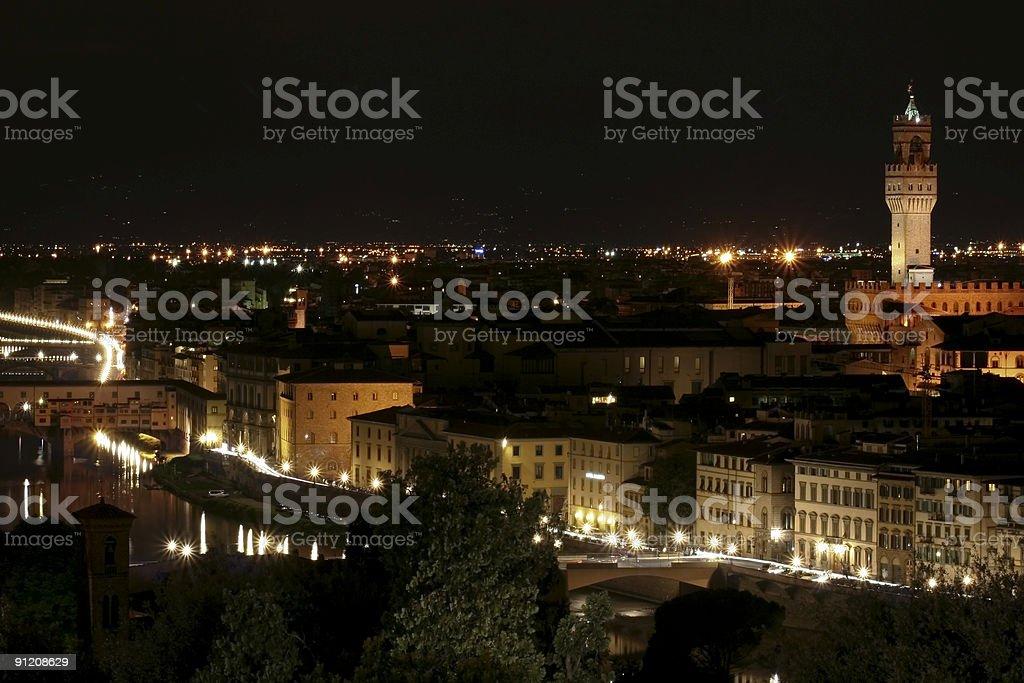 Florence Landscape by Night - Tuscany, Italy royalty-free stock photo