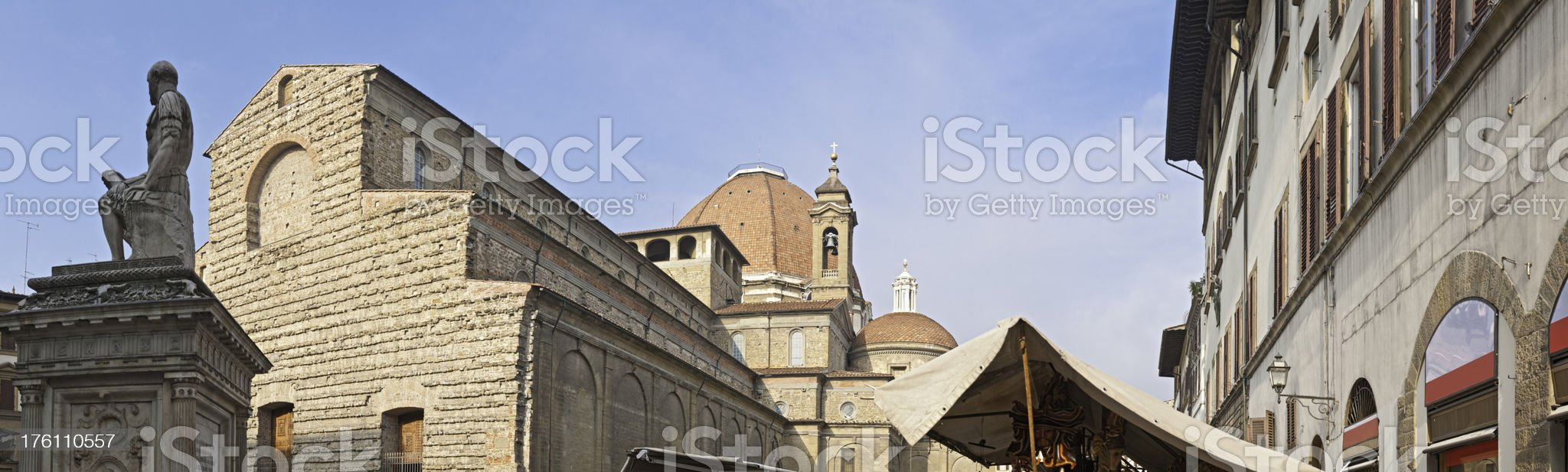 Florence market stalls and San Lorenzo piazza panorama Tuscany Italy royalty-free stock photo