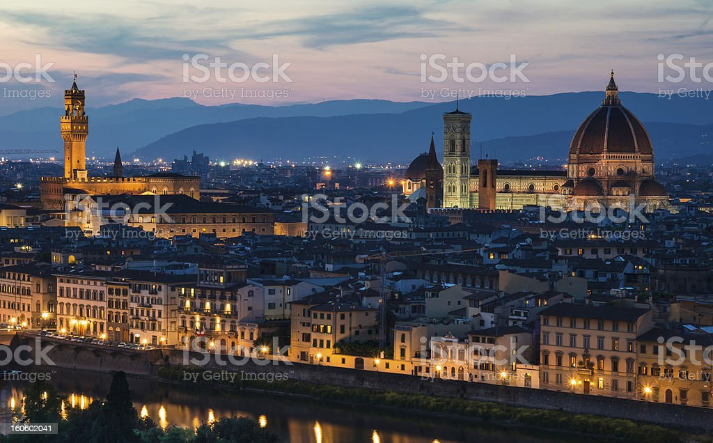 Florence night view, Italy royalty-free stock photo