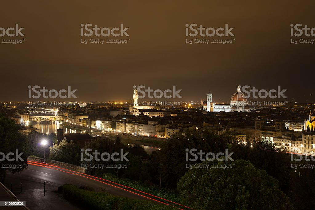 Florence night view stock photo