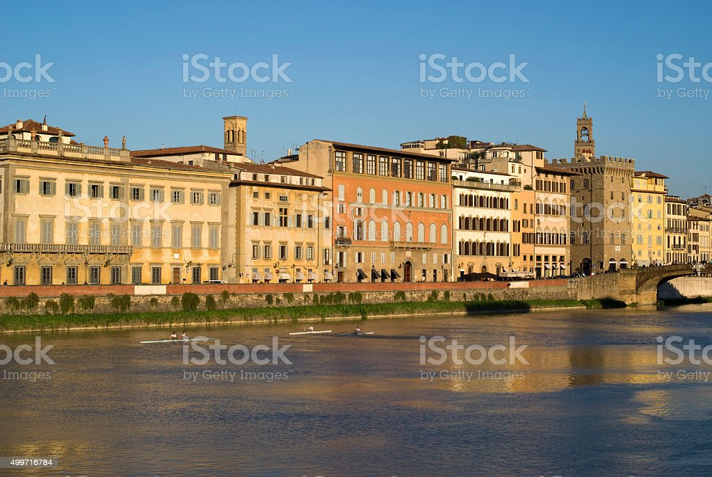 Florence. Old town buildings on the riverbank Arno stock photo
