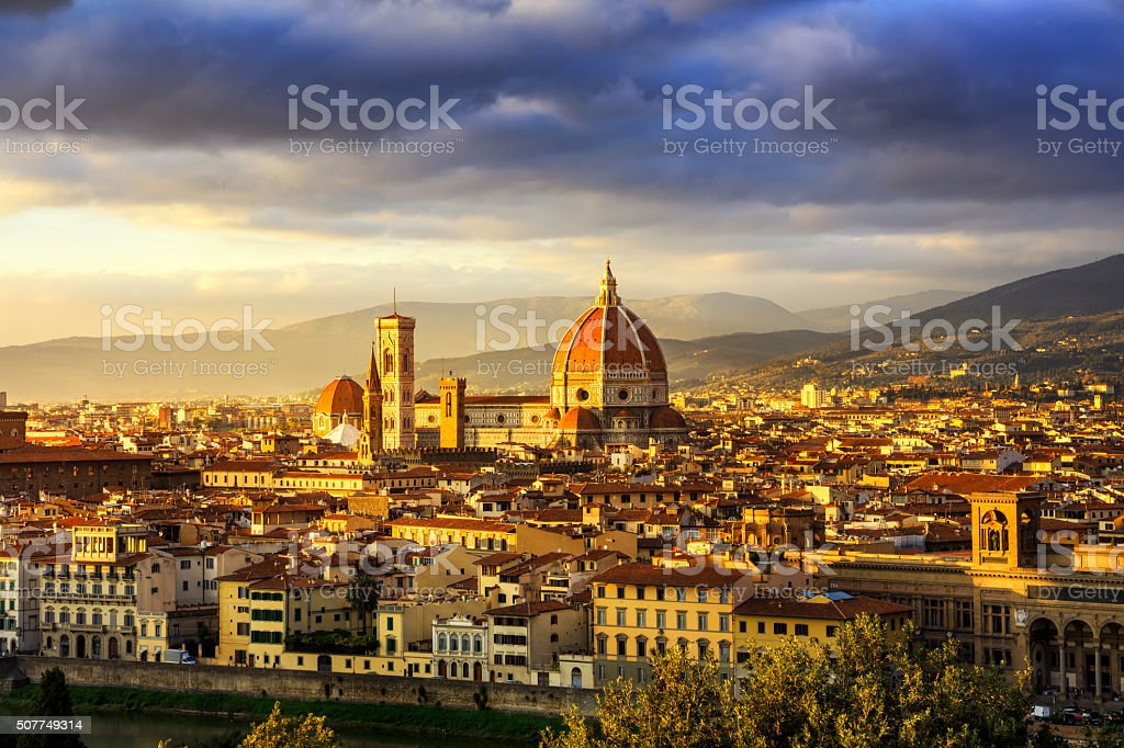 Florence or Firenze, Duomo Cathedral landmark. Sunset view from stock photo