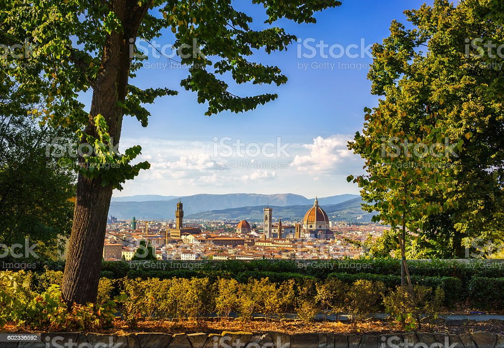 Florence or Firenze sunset aerial cityscape from a public garden stock photo