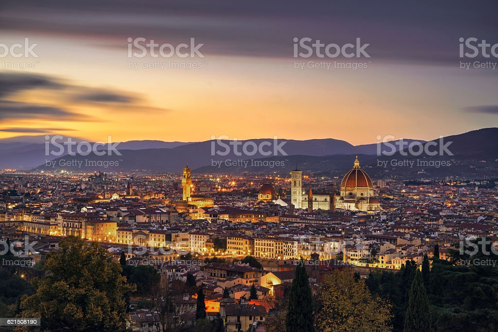 Florence or Firenze sunset aerial cityscape.Tuscany, Italy stock photo