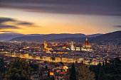 Florence or Firenze sunset aerial cityscape.Tuscany, Italy
