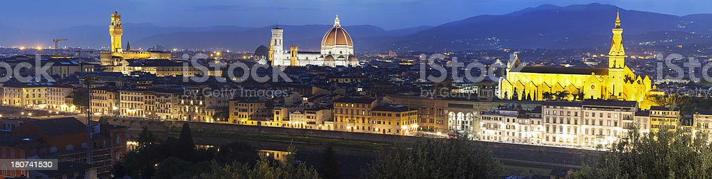 Florence Panorama at Night, Italy royalty-free stock photo