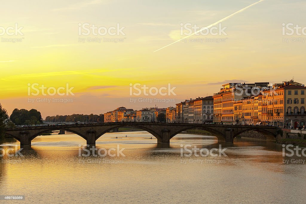 Florence - Ponte Alla Carraia At Sunset stock photo
