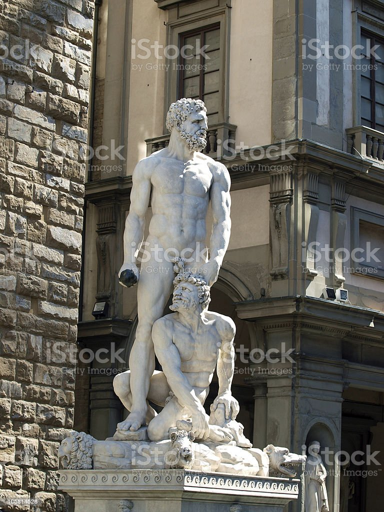 Florence - Sculpture Hercules and Cacus by Bandinelli. stock photo