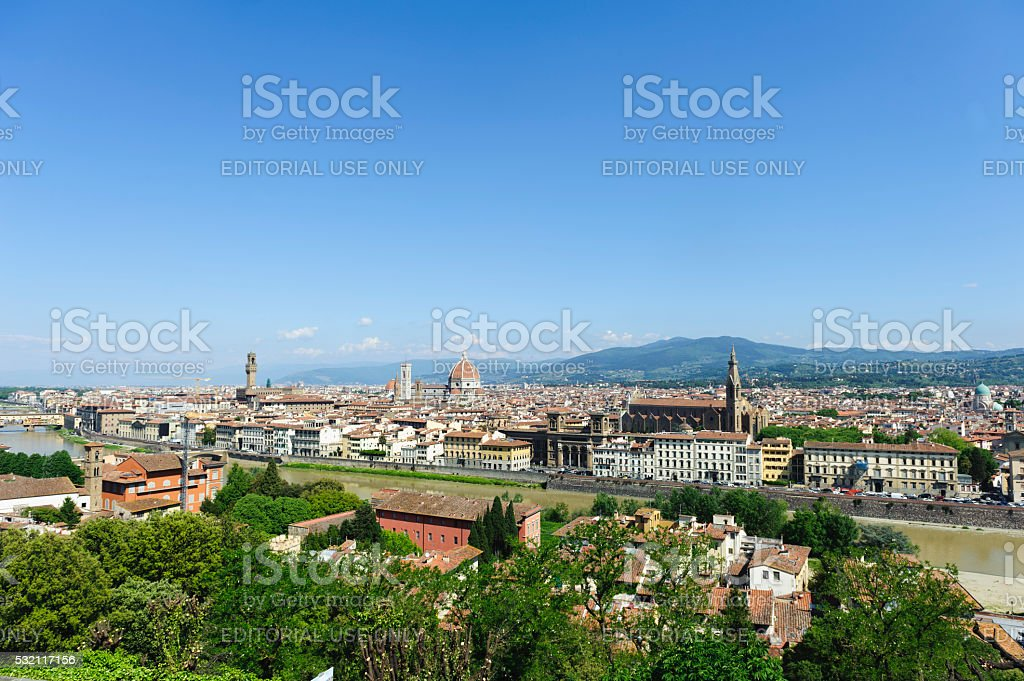 florence seen from Piazzale Michelangelo on a sunny day stock photo