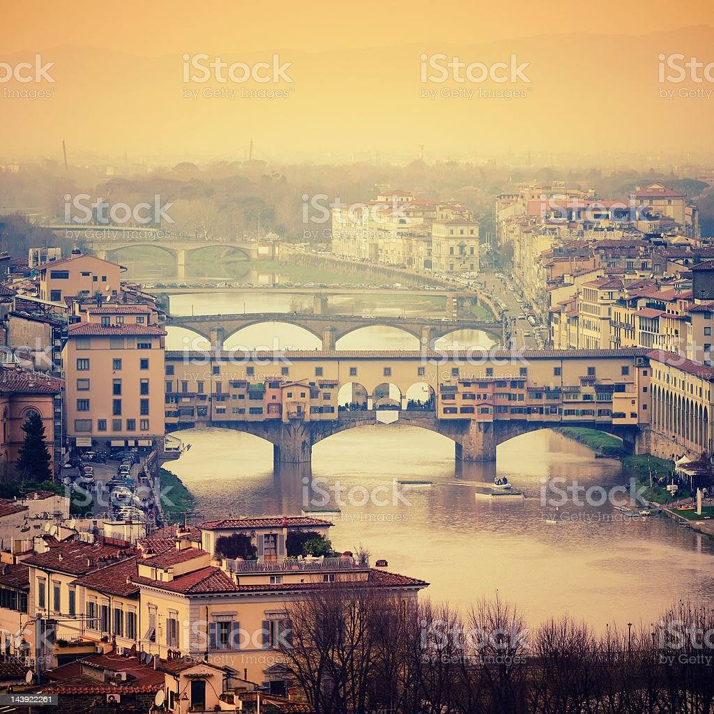 Florence skyline and Arno river with Ponte Vecchio stock photo