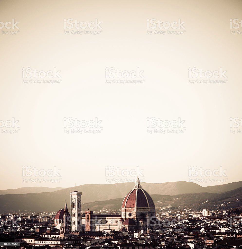 Florence skyline and basilica at sunset royalty-free stock photo
