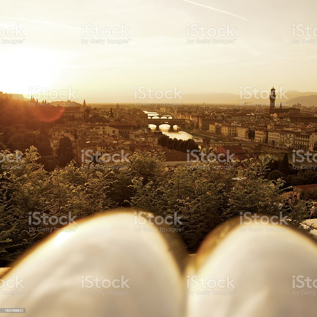 Florence skyline at sunset royalty-free stock photo