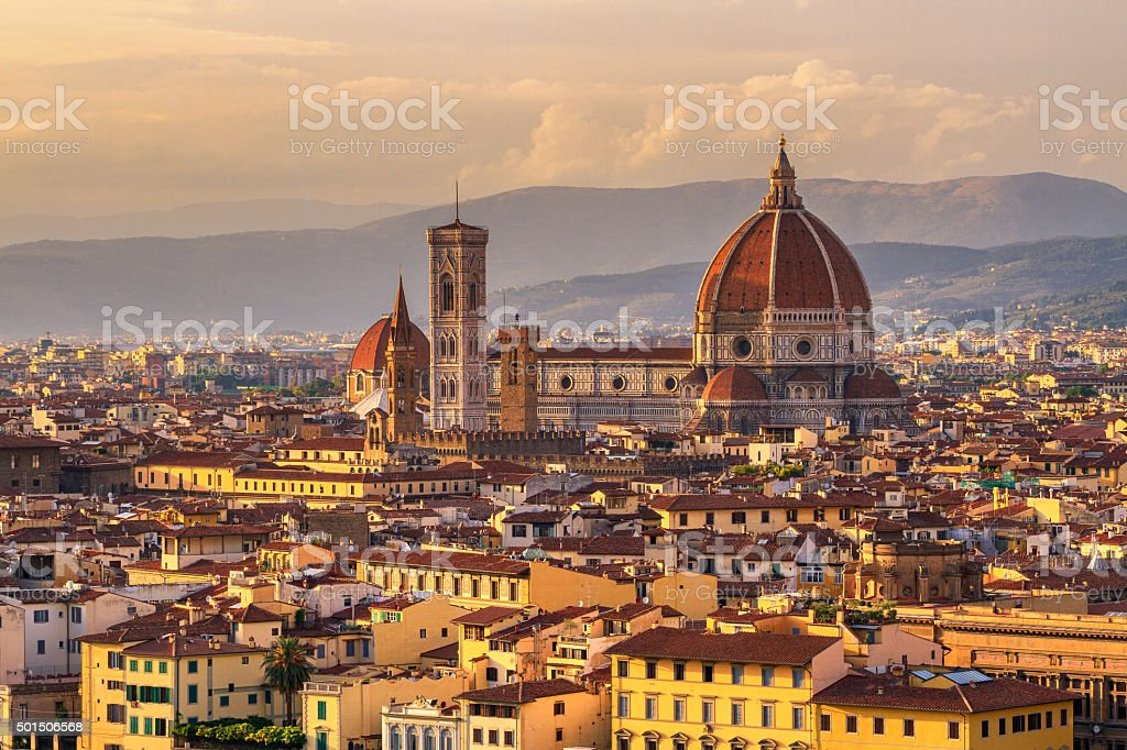 Florence skyline at sunset stock photo