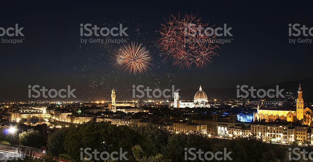 Florence skyline by night - Fireworks in the background stock photo