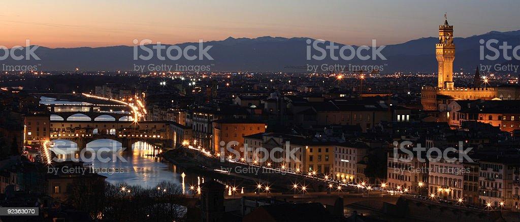 Florence skyline by night royalty-free stock photo