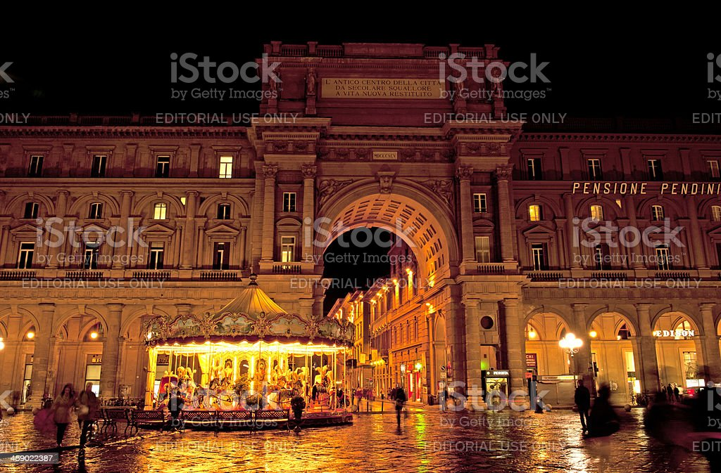Florence square in the night stock photo