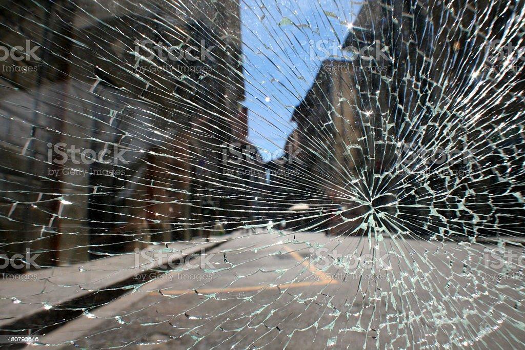Florence street through broken glass stock photo