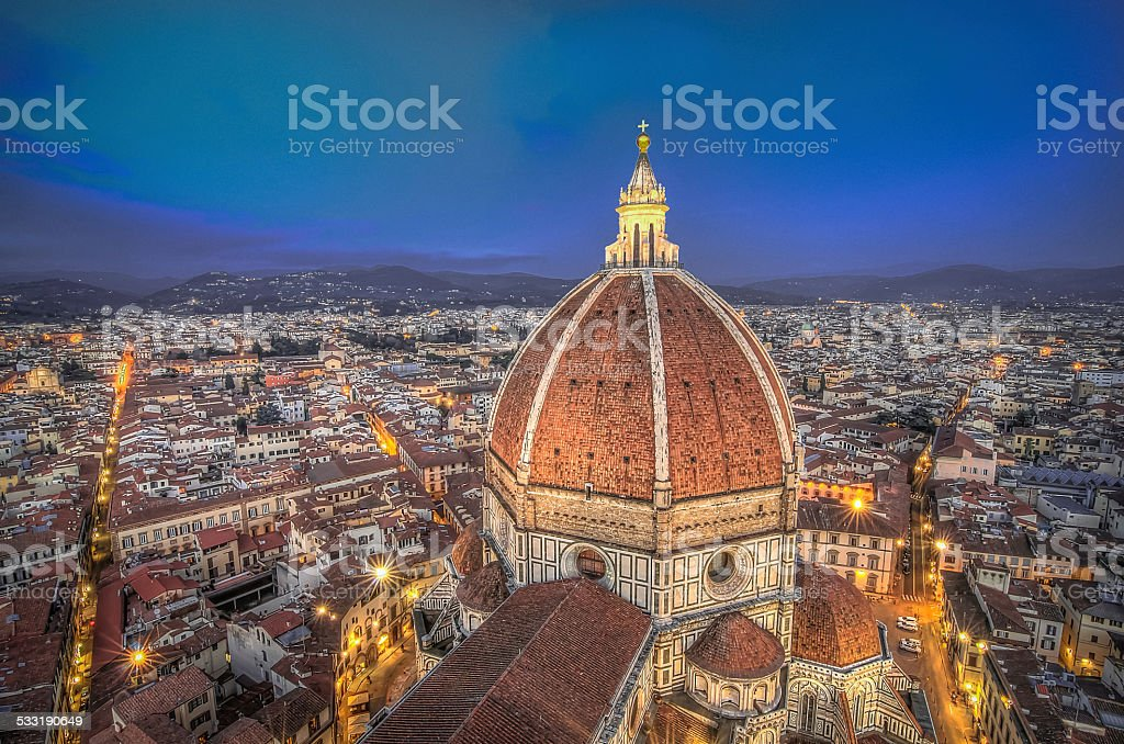 Florence sunset from The Duomo stock photo