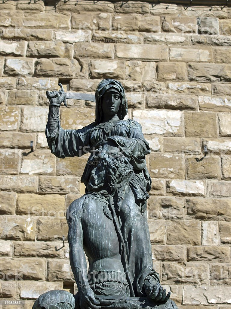 Florence - The statue of Judith and Holofernes stock photo