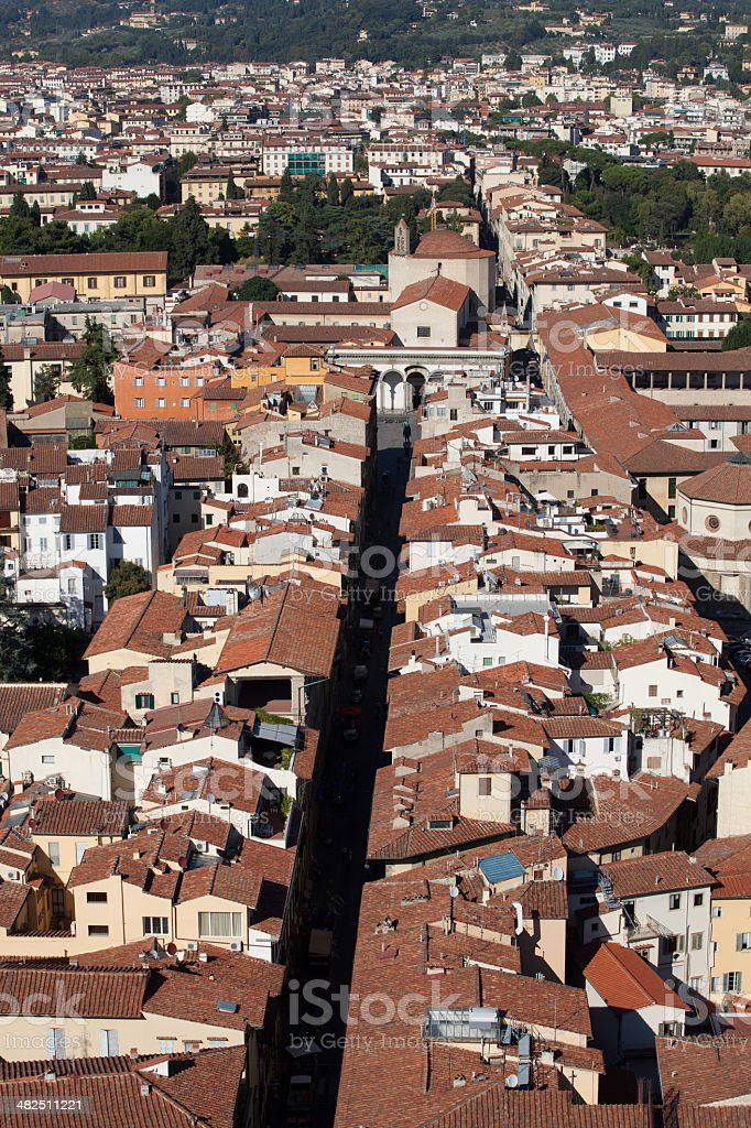 Florence - the view on Santissima Annunziata stock photo