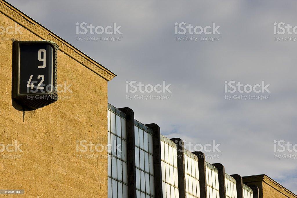 Florence Train Station Clock, Italian Modern Architecture stock photo