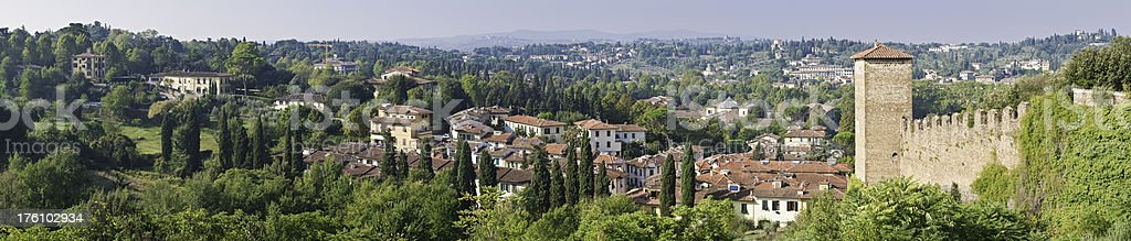 Florence tranquil Tuscan suburbs panorama city walls idyllic villas Italy royalty-free stock photo