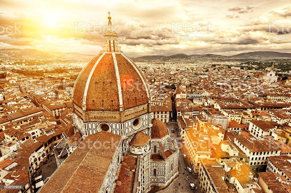 Florence view. Basilica di Santa Maria del Fiore. Italy. stock photo