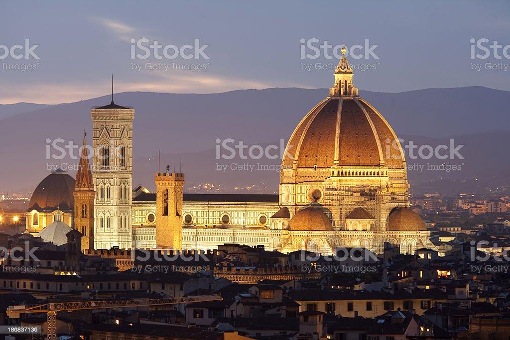 Florence's Duomo at dusk royalty-free stock photo