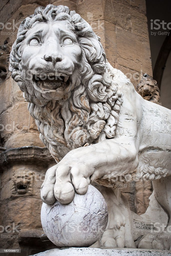 Florence's lion in Piazza della Signoria stock photo