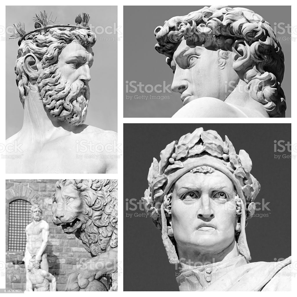 florentine sculptures collage stock photo